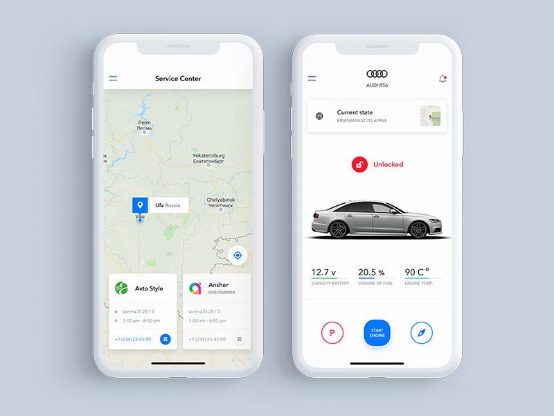 car_app web travel smart x iphone start map white car ux ui