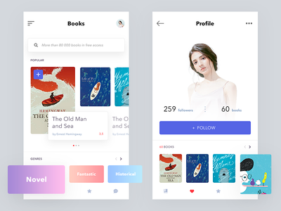 books online concept white reading read intarface book concept ux ios flat mobile ui