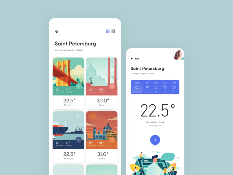 Weather_app illustraiton clean mobile profile ux ui ios card weather