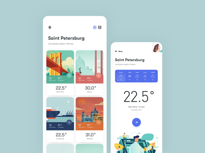 Weather_app illustraiton clean mobile profile ux ui ios card weather