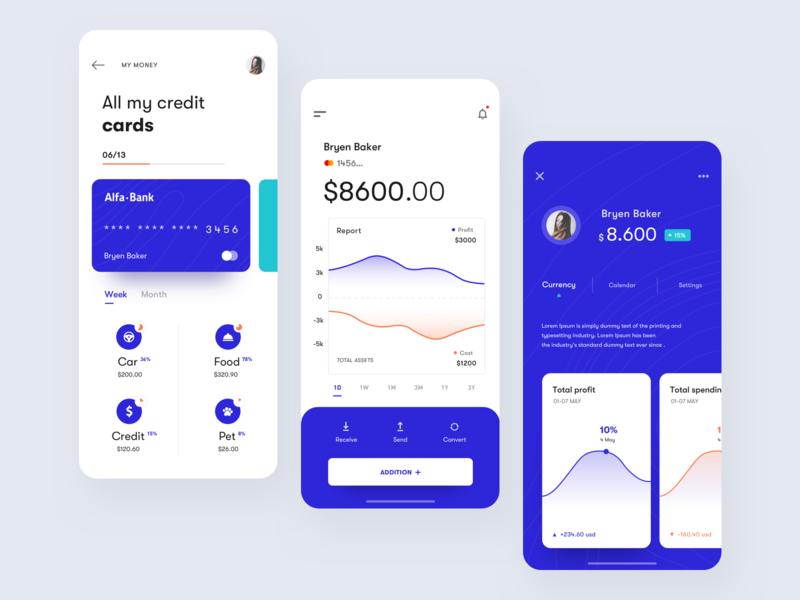 financial app ios mobile profile deogram card graph wallet financial finance ux ui