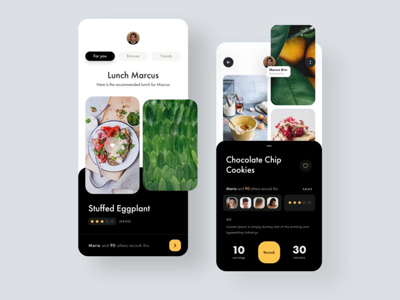 Cooking Recipe App social network media ux ui restaurant recipe foodie food app food cuisine cooking app cooking chef