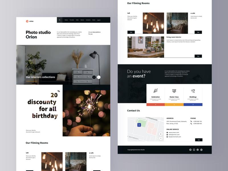 Photo Studio homepage lending map studio photo ui website web visual design