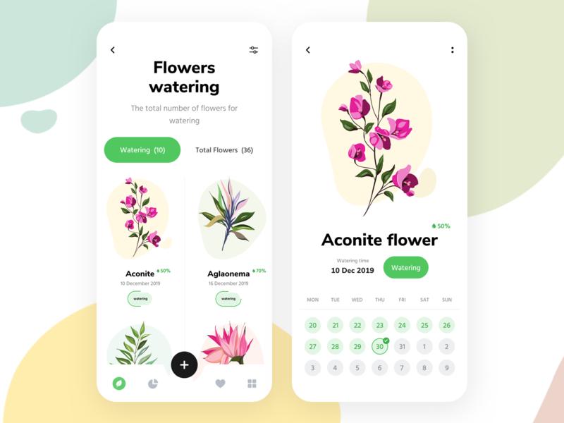 Flowers Watering 🌸 design illustraion note hyper lab hyper lab card list calendar dashboad flower ux ui