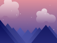 Mountains, Clouds and Stars Illustration for iOS app