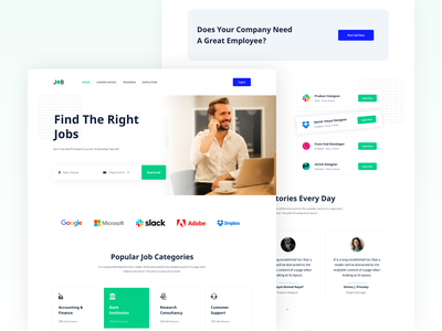 Job Search Landing Page mobile web dashboard homepage hire expart employe search ui ux landing page product design web design website job search job landing job result job listing job board job posting search website freelance design freelancers