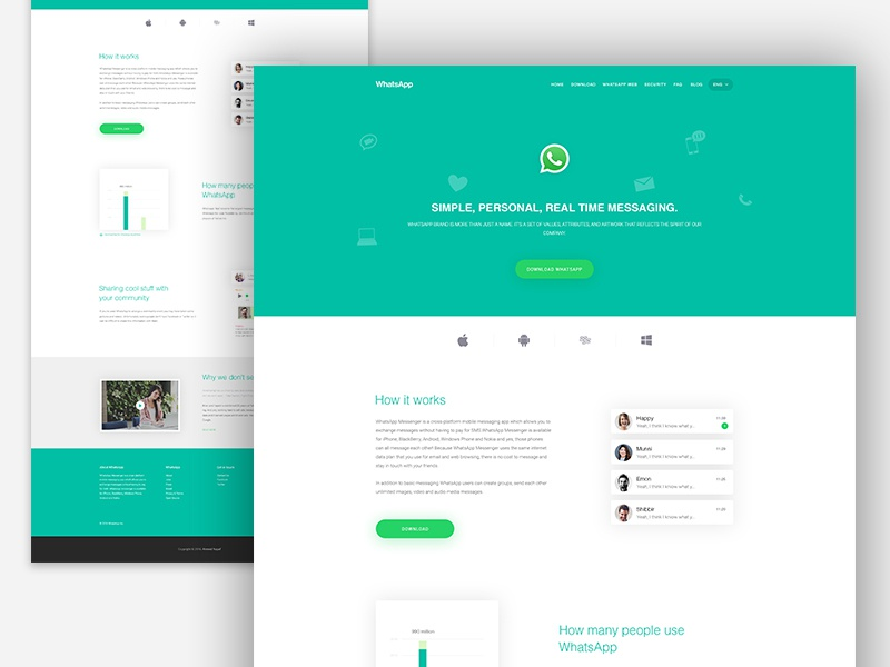WhatsApp : App Landing Page landing page ios freatures android creative clean app landing page template facebook whatsapp ux ui