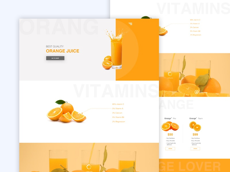 Orange Juice Landing Page flavour dribbble best shot funny product typography orange juice landing page template ux ui