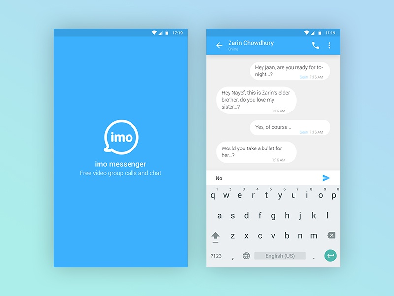 Redesign : imo messenger clean material design app dribbble best best shot mobile app chat facebook messenger imo android ios