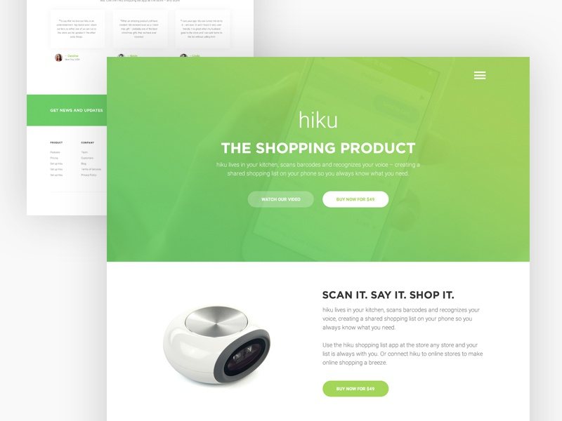 hiku : Product Landing Page ux user hiku website web ui page landing page interface experience design case study