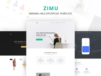 ZIMU MEGA PACK ux ui8 new product responsive web template multipurpose ecommerce app agency landing page web template