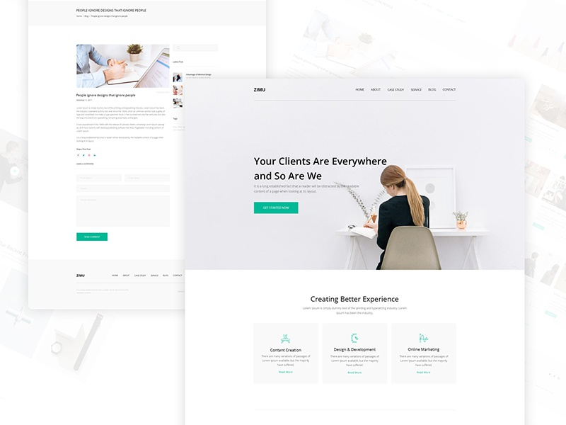 ZIMU : Agency Web Template ui web template web ui8 template responsive multipurpose landing page new product ecommerce app agency