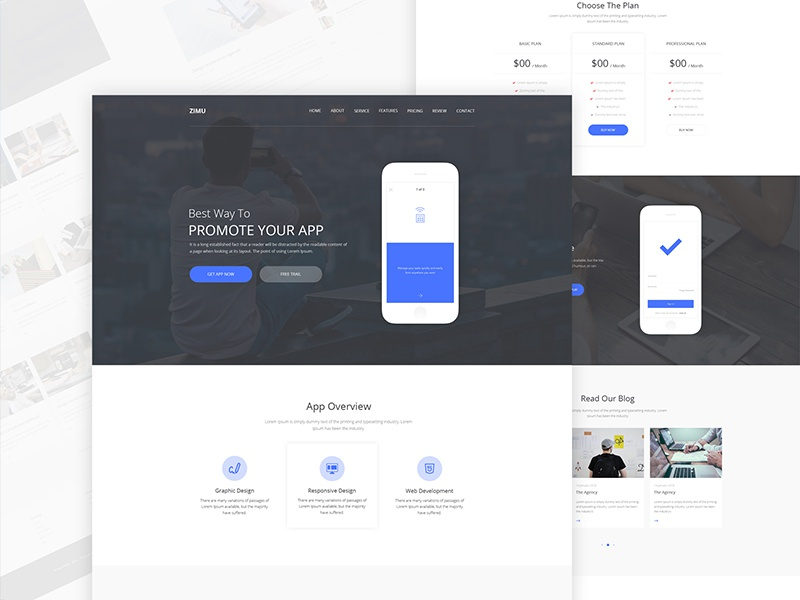 ZIMU : App Landing Page popular shots dribbble best shot ux website web minimal modern clean template landing page ios app