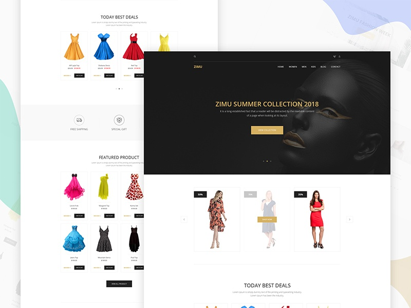 ZIMU : E-commerce Web Template dribbble best shot ux ui web exploration header landing page agency app website template ecommerce