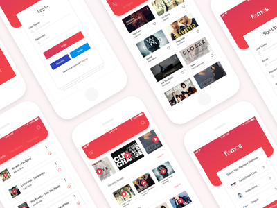 Flames Music App : iOS UI Kit ui mobile app modern design illustration sound iphone application music music app ios app