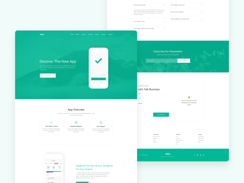 ZIMU : App Landing Page web app minimal popular shots ux ui website template landing page dribbble best shots modern design clean shot app