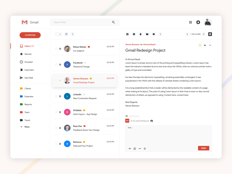 Gmail Redesign Challenge ux ui inbox conversation cloud google gmail desktop product message email app