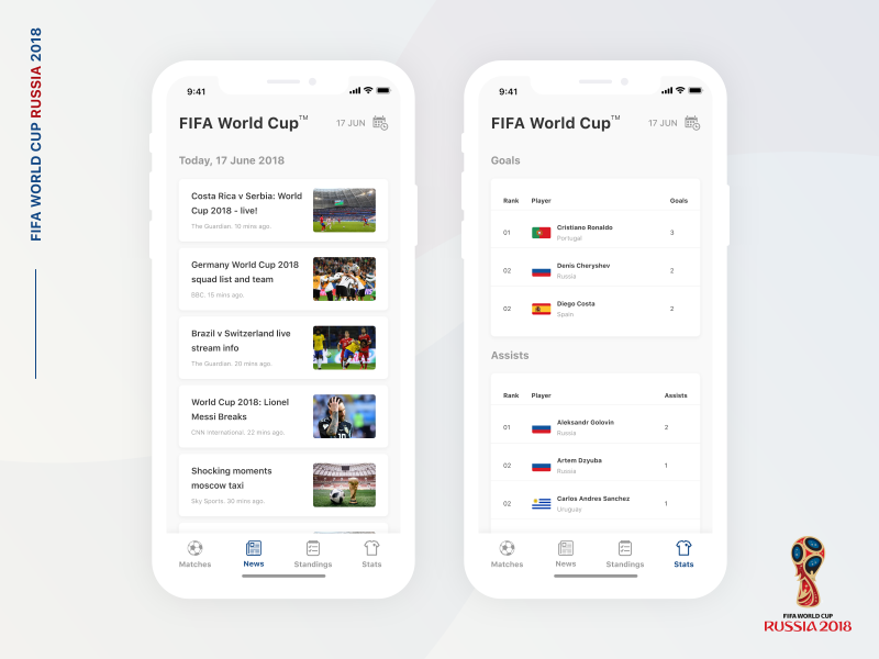 FIFA World Cup : Live Score App white clean light ux ui interaction invites invitation draft invite instagram stories video grid typography gallery grid counter flag gradient shadow minimal football club soccer club art euro argentina brazil football soccer score blur tools social profile app ios iphone