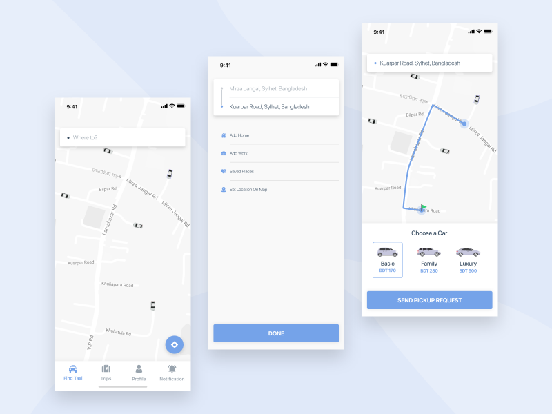 Taxi App UI Concept uber google map pathao taxi ride trip travel finance car vehicle driver google map material popular trending dashboard new ui trend team minimal iphone x concept mobile app ui kit taxi ride sharing clean typography app ios android oreo