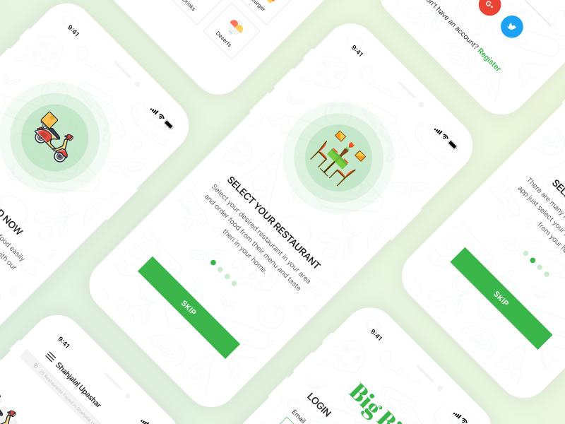 Big Bite iOS UI Kit static illustration design brand user interface ux ui workflow user interaction user experience order delivery details interactive mobile prototype mobile app experience mobile app design food delivery application clean interface icons app workflow