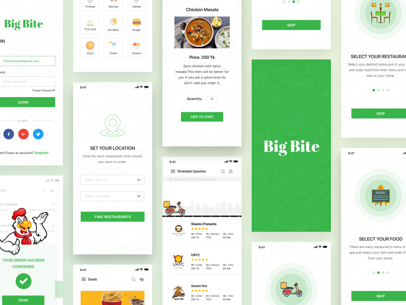 Big Bite iOS UI Kit currency crypto coin order delivery shadow app illustration food features designer green