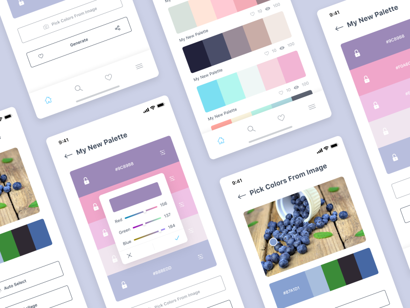 Color Palettes  App ios mobile application illustration guidelines design system color palette web landing page product design clean minimal theme animation gif grid concept android design mobile app iphone application design ios design app