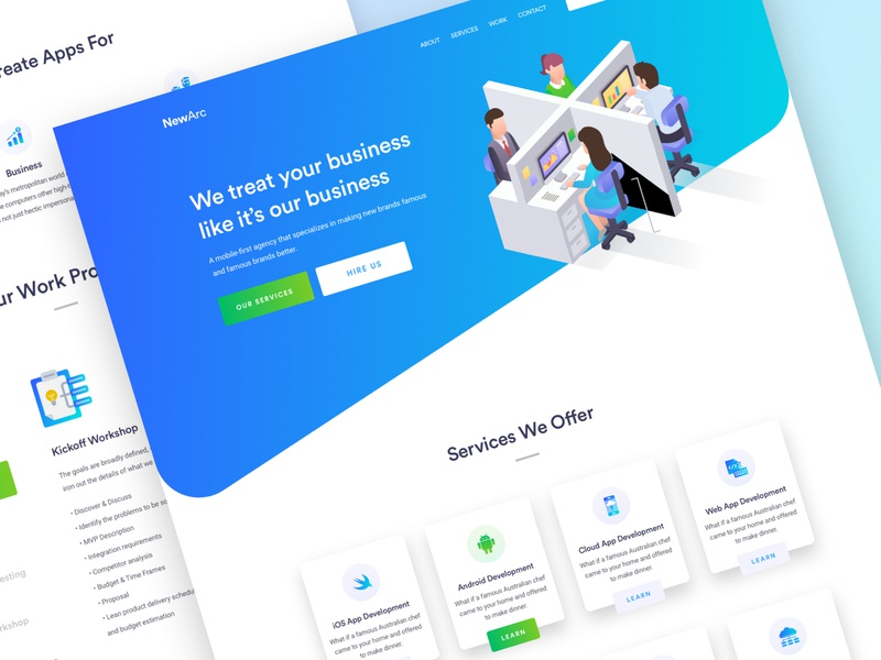NewArc Home Page web app template trend modern 2018 app business startup typography ui ux page pattern colors product services web app contact flat team digital marketing advantis layout minimal website agency clean homepage people icons character illustration design landing page