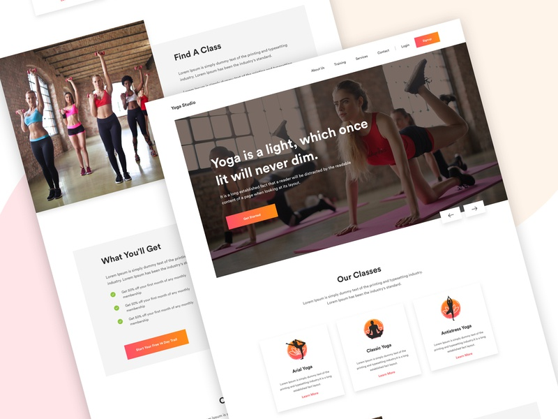 Yoga Studio Landing Page trendy design 2019 agency corporate business colors graphic vector meditation sports trainer ui ux typography gym fitness workout android ios app creative minimal modern web design template illustration landing page user interface homepage yoga case study