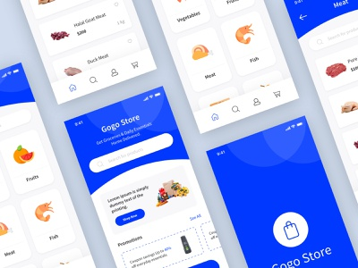Grocery App Concept payment card food shopping order cart ecommerce buy category grocery shop store illustrator illustration logo minimal ui ux 2019 clean creative app ui ux product design mobile interface ios layout app application design
