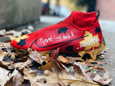Dear Dad, Love Autumn 49ers leaves autumn paint cleats football hand painted custom sneakers