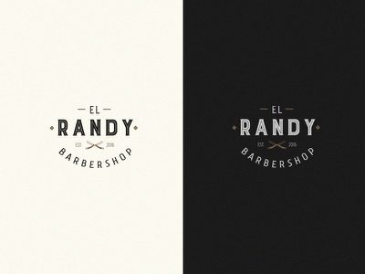 Randy Barber shop Logo elegant barberia gold black barbershop barber shop logo