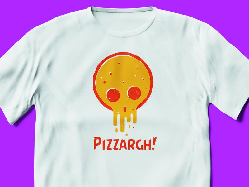 pizzargh! skull pizza illustration shirt