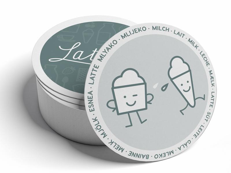Latte + Co cartoon character graphic design logo