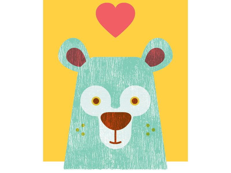 Bear screenprint illustration