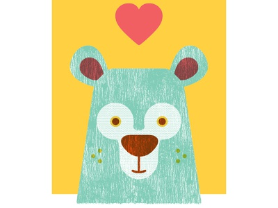 Bear screenprint illustration
