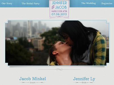 Wedding Site Design website header blue purple