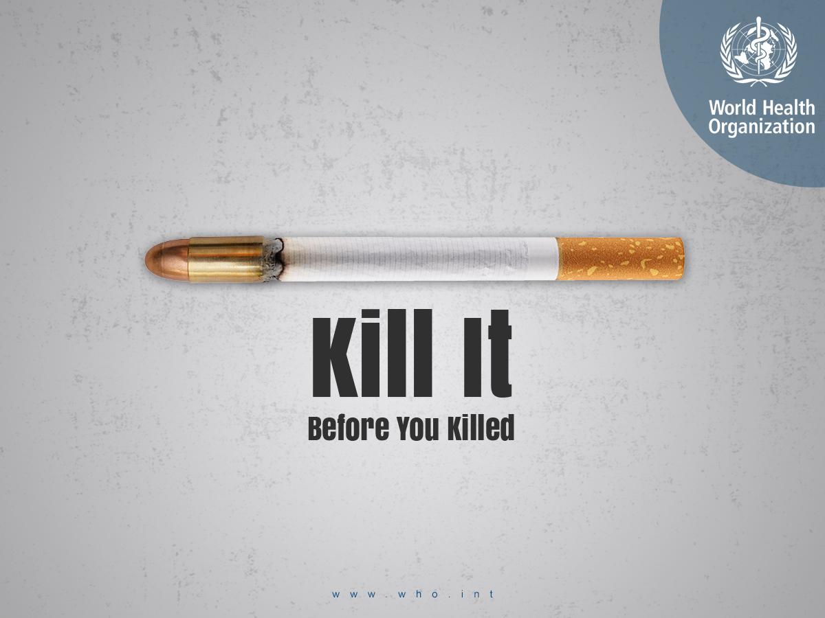 WHO unofficial social media campaign 2019 who world health organization worlld health smoking no smoking smoke kill behance