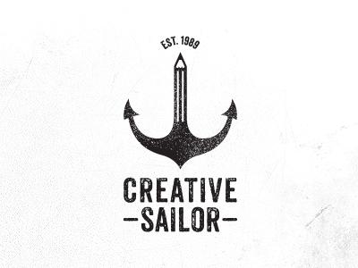 Creative Sailor – logodesign creative sailor logo design anchor pencil pen black white grounge condensed