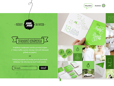 pompom – launchpage pompom story stories paper handmade wedding invitations black green webdesign launch page