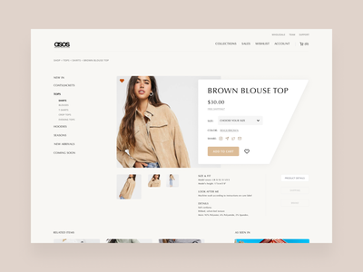 ASOS Ecommerce Concept - Product Detail minimal ecommerce shop fashion designs fashion concept design asos luxury design ui designer ui design ecommerce ecommerce design user interface interface clean forhire ui
