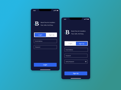 Login & Sign Up Pattern - Bomsie for hire hire signup screen login screen uidesign ui design patterns uidesignpatterns uidesigner blue user interface dallastexas startup interface clean ui forhire minimal