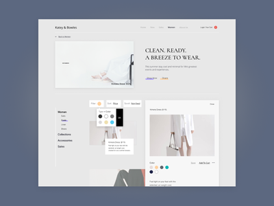 K&B v2 wireframe ux ui startup minimal interface forhire fide dallastexas sitedesign ecommerce fashion