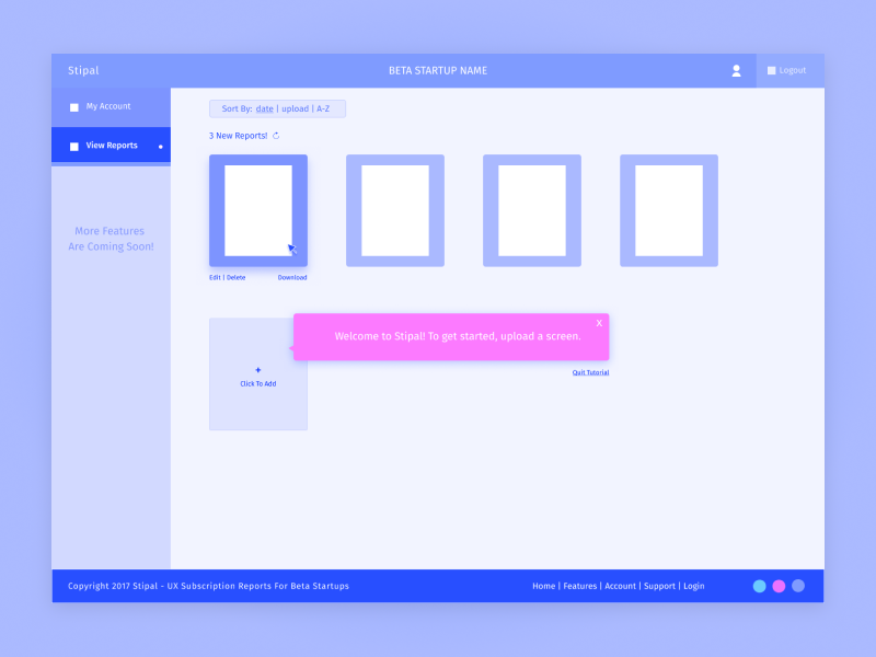 Stipal - Report Page wireframe ux ui startup sitedesign minimal interface forhire fide uxreport webapp dallastexas