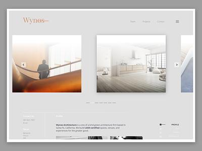 Wynos Architecture - Home Page wireframe ux ui startup minimal interface forhire clean dallastexas website interiordesign architecture