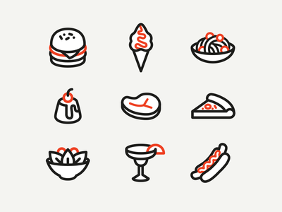 Food icons pizza meat cocktail pasta hot dog ice-cream hamburger restaurant lined 🍔 icons food
