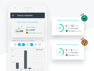 Udacity's Scheduler mobile app dashboard udacity achievement rewards gamification track skills scheduler studying material android