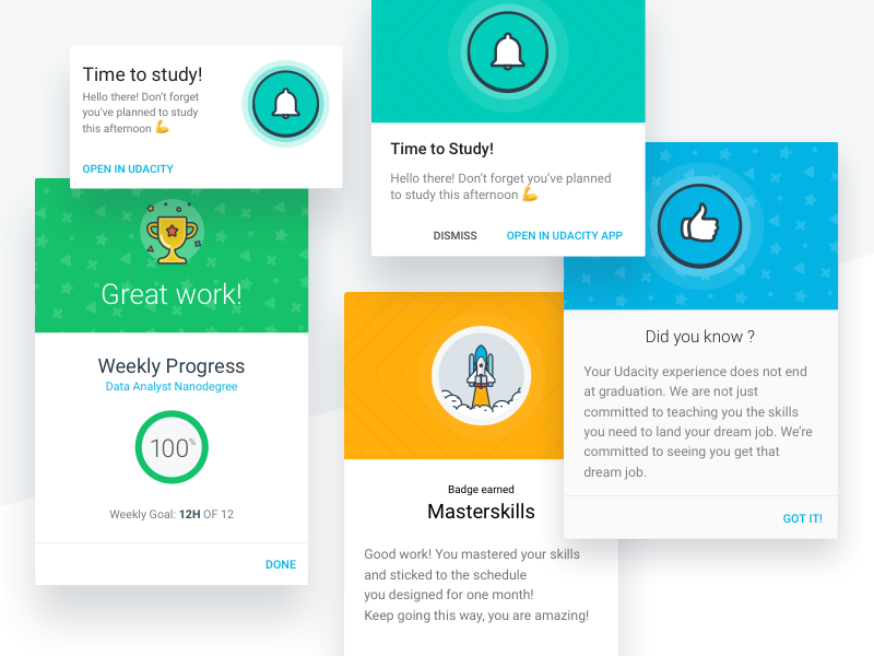 Udacity's Scheduler · Motivation! scheduler goal reward trigger hook model gamification achievement habit builder motivational message motivation notification udacity