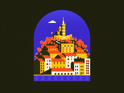 Marselha mediterranea còsta blava homesick provence marseille france illustration flat sea city minimal port