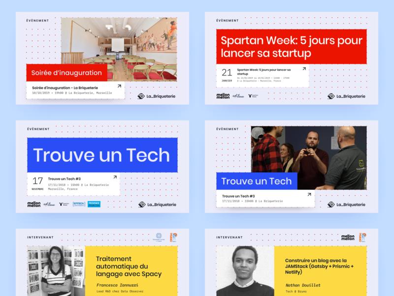 La Briqueterie – Social Media Templates meetup cards event coworking pastel social media templates social media design layout post social media template grid