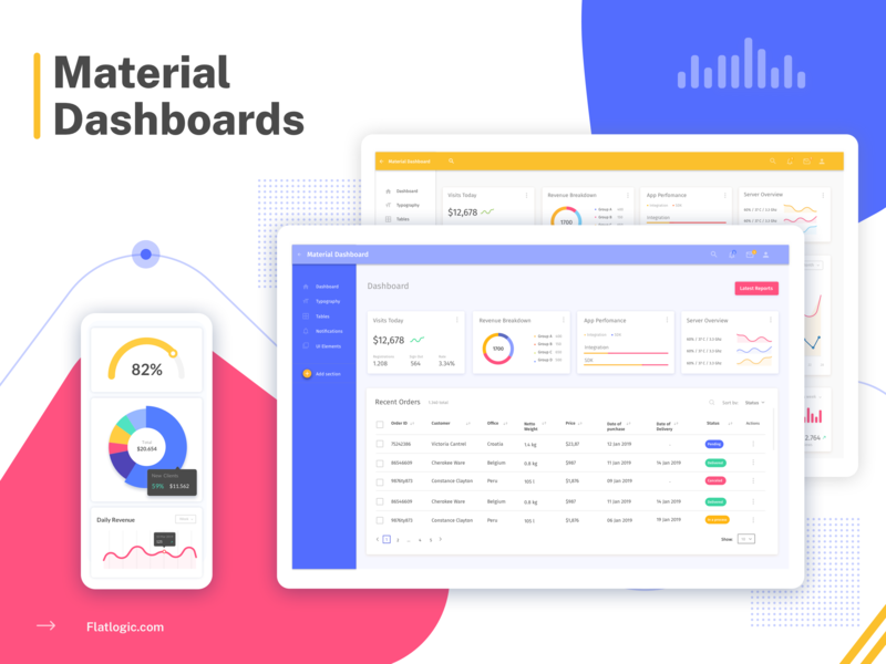 Material Dashboard blog materialdesign material dashboard ui dashboad art article ui vector graphic design design